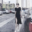 Dress Spring 2020 black S,M,L,XL Mid length dress singleton  Short sleeve commute Crew neck High waist Solid color Socket Irregular skirt routine 25-29 years old Splicing TWX31749S More than 95% other