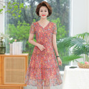 Middle aged and old women's wear Summer 2021 Iris, pink floret XL recommended 90-105 kg, 2XL recommended 105-120 kg, 3XL recommended 120-135 kg, 4XL recommended 135-150 kg, 5XL recommended 150-165 kg fashion Dress easy singleton  Decor 40-49 years old Socket thin Crew neck Medium length routine Gauze