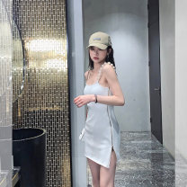 Dress Spring 2021 Enchantment black, enchantment black, pastry white, pastry white S, M Middle-skirt singleton  Sleeveless commute High waist Solid color camisole 18-24 years old Nanxi sister Korean version NQZ30328 71% (inclusive) - 80% (inclusive) other other