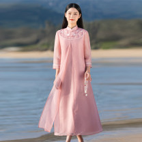 Dress Summer 2021 Pink dress S,M,L,XL longuette Fake two pieces three quarter sleeve commute stand collar High waist Solid color Single breasted A-line skirt routine Others Type A Cotton Bast Retro Buttons, stitching, embroidery D142 other other