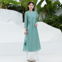 Dress Summer 2021 Green dress S,M,L,XL Mid length dress singleton  three quarter sleeve commute other Loose waist Solid color other A-line skirt routine Others Type A Cotton Bast Retro Frenulum D150 other