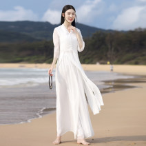 jacket Summer 2021 S,M,L,XL One piece white top , One piece white wide leg pants , White suit QF20200402 25-35 years old