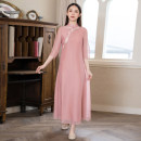 Dress Summer 2021 Pink dress S,M,L,XL longuette singleton  three quarter sleeve commute stand collar Loose waist Solid color Socket A-line skirt routine Others Type A Cotton Bast Retro Button , Embroidery D171