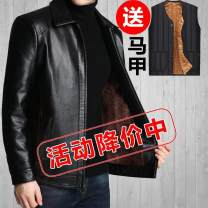 leather clothing Others other 170/M,175/L,180/XL,185/XXL,190/XXXL routine Imitation leather clothes Lapel Straight cylinder zipper spring leisure time old age PU Business Casual Straight hem Side seam pocket No iron treatment Color block