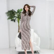 Dress Summer 2020 serpentine S,M,L,XL Mid length dress singleton  commute High collar High waist Decor zipper other other 25-29 years old Type X Korean version other