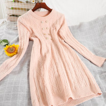 Dress Spring 2021 Black, apricot, pink Average size Short skirt singleton  Long sleeves commute Crew neck High waist Solid color Socket A-line skirt routine Others 25-29 years old Type A Korean version Splicing 51% (inclusive) - 70% (inclusive) knitting other