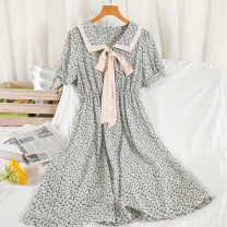 Dress Spring 2021 Green, blue, yellow, black, pink Average size Mid length dress singleton  Short sleeve commute Doll Collar High waist Broken flowers Socket A-line skirt routine Others 18-24 years old Type A Korean version 51% (inclusive) - 70% (inclusive) Chiffon other