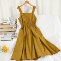 Dress Summer 2021 Yellow, black Average size longuette singleton  Sleeveless commute square neck High waist Solid color Socket A-line skirt routine camisole 18-24 years old Type A Korean version Splicing 51% (inclusive) - 70% (inclusive) other other