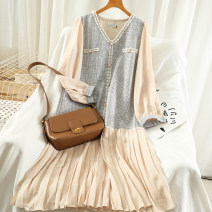 Dress Autumn 2020 Apricot, grey Average size Mid length dress singleton  Long sleeves commute V-neck High waist Solid color Socket A-line skirt routine Others 18-24 years old Type A Korean version Button 51% (inclusive) - 70% (inclusive) polyester fiber