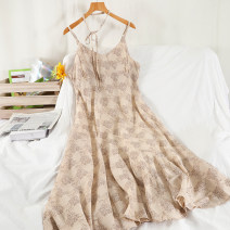 Dress Summer 2021 grey , yellow , Apricot Average size longuette singleton  Sleeveless commute V-neck High waist Broken flowers Socket A-line skirt routine camisole 18-24 years old Type A Korean version Printing, splicing 51% (inclusive) - 70% (inclusive) Chiffon other