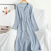 Dress Autumn 2020 Blue, black, pink Average size Mid length dress singleton  Long sleeves commute V-neck High waist Solid color Single breasted A-line skirt routine 18-24 years old Type A Korean version Button 51% (inclusive) - 70% (inclusive) knitting