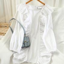 Dress Autumn 2020 Black, white M, L Short skirt singleton  Long sleeves commute Hood High waist Solid color zipper routine 18-24 years old Type A Korean version Frenulum 51% (inclusive) - 70% (inclusive) cotton