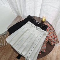 skirt Summer 2020 S,M,L White, black Short skirt commute High waist Pleated skirt Solid color Type A 18-24 years old 51% (inclusive) - 70% (inclusive) other Other / other other Korean version