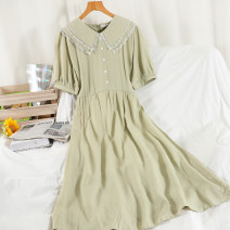 Dress Summer 2021 Green, yellow, black, orange powder Average size longuette singleton  Short sleeve commute Doll Collar High waist other Single breasted A-line skirt routine 18-24 years old Type A Korean version Button, lace up 51% (inclusive) - 70% (inclusive) other other