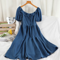 Dress Spring 2021 Black, white, blue Average size longuette singleton  Short sleeve commute square neck High waist Solid color Socket A-line skirt puff sleeve Others 18-24 years old Type A Korean version Button, lace up 51% (inclusive) - 70% (inclusive) other other