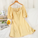 Dress Summer 2021 Apricot, blue, yellow, black Average size Short skirt singleton  Short sleeve commute square neck High waist Solid color zipper A-line skirt puff sleeve Others 18-24 years old Type A Korean version Button 51% (inclusive) - 70% (inclusive) Chiffon other