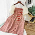 Dress Summer 2020 Pink S,M,L Short skirt singleton  Short sleeve commute square neck High waist lattice Socket other puff sleeve Others 18-24 years old Type A Korean version 51% (inclusive) - 70% (inclusive) other
