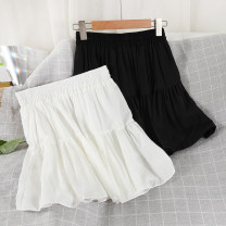 skirt Summer 2021 Average size Black, white Short skirt commute High waist A-line skirt Solid color Type A 18-24 years old 51% (inclusive) - 70% (inclusive) Chiffon other Button Korean version