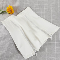 skirt Summer 2021 S,M,L Black, white Short skirt commute High waist A-line skirt Solid color Type A 18-24 years old 51% (inclusive) - 70% (inclusive) other other pocket Korean version