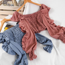 shirt Black, white, red, yellow, blue, pink Average size Winter 2020 polyester fiber 51% (inclusive) - 70% (inclusive) Long sleeves commute Regular square neck Socket other Solid color 25-29 years old Self cultivation Korean version Chiffon