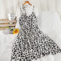 Dress Summer 2021 Black, white Average size longuette Two piece set Short sleeve commute Crew neck High waist Broken flowers Socket A-line skirt routine camisole 18-24 years old Type A Korean version printing 51% (inclusive) - 70% (inclusive) Chiffon other