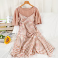 Dress Summer 2021 M, L Short skirt Two piece set Short sleeve commute Crew neck High waist lattice Socket A-line skirt routine 18-24 years old Type A Korean version 51% (inclusive) - 70% (inclusive) other hemp