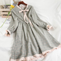Dress Spring 2021 violet , green , blue , yellow , grey , Pink Average size longuette singleton  Long sleeves commute High waist lattice Socket A-line skirt routine 18-24 years old Type A Korean version bow 51% (inclusive) - 70% (inclusive) other other