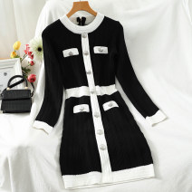 Dress Autumn 2020 black Average size Short skirt singleton  Long sleeves commute Crew neck High waist Solid color Single breasted A-line skirt routine 18-24 years old Type A Korean version Button 51% (inclusive) - 70% (inclusive) knitting acrylic fibres