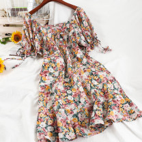 Dress Winter 2020 Blue, purple, pink S,M,L Mid length dress singleton  Short sleeve commute square neck High waist Decor Socket A-line skirt puff sleeve 18-24 years old Type A Korean version printing 51% (inclusive) - 70% (inclusive) Chiffon other