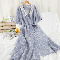 Dress Summer 2021 Black, white, yellow, blue Average size longuette singleton  Short sleeve commute V-neck High waist Broken flowers other A-line skirt routine Others 18-24 years old Type A Korean version Print, lace 51% (inclusive) - 70% (inclusive) Chiffon other