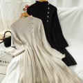 Dress Autumn 2020 Black, khaki Average size Short skirt singleton  Long sleeves commute Half high collar High waist Solid color Socket A-line skirt routine 18-24 years old Type A Korean version Splicing 51% (inclusive) - 70% (inclusive) knitting