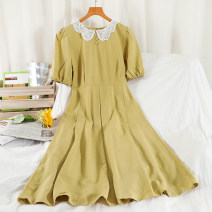 Dress Summer 2021 black , white , yellow , blue , Khaki Average size longuette singleton  Short sleeve commute Doll Collar High waist other zipper other routine Others 18-24 years old Type A Korean version Button 51% (inclusive) - 70% (inclusive) other other