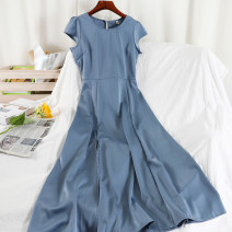 Dress Spring 2021 Black, white, yellow, blue, dark green S,M,L longuette singleton  Short sleeve commute Crew neck High waist Solid color Socket A-line skirt routine Others 18-24 years old Type A Korean version zipper 51% (inclusive) - 70% (inclusive) Chiffon