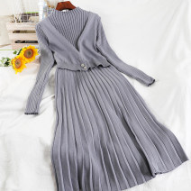 Dress Winter 2020 Black, white, gray blue Average size longuette singleton  Long sleeves commute Half high collar High waist Solid color Socket A-line skirt routine Others 18-24 years old Type A Korean version Splicing 51% (inclusive) - 70% (inclusive) knitting