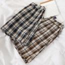 skirt Summer 2020 S,M,L Blue, brown Short skirt commute High waist A-line skirt lattice Type A 18-24 years old 51% (inclusive) - 70% (inclusive) other Other / other other Korean version