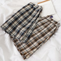 skirt Summer 2020 S,M,L Blue, brown Short skirt commute High waist A-line skirt lattice Type A 18-24 years old 51% (inclusive) - 70% (inclusive) other Other / other other Korean version