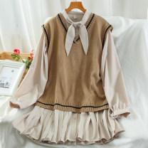Fashion suit Autumn 2020 Average size Black, apricot, blue 18-25 years old 51% (inclusive) - 70% (inclusive) acrylic fibres