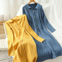 Dress Autumn 2020 Blue, yellow, apricot Average size Mid length dress singleton  Long sleeves commute Polo collar High waist Solid color Single breasted A-line skirt routine 18-24 years old Type A Korean version Button 51% (inclusive) - 70% (inclusive) knitting acrylic fibres