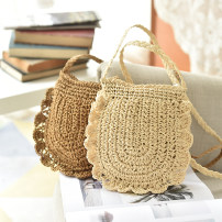 Bag The single shoulder bag paper Straw bag Other / other Light Brown Beige brand new like a breath of fresh air Mini leisure time soft zipper yes