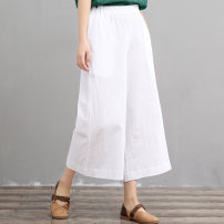 Casual pants White, green, red Average size Summer of 2019 Ninth pants Wide leg pants Natural waist commute routine 96% and above hz338 cotton literature cotton