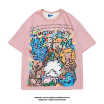 T-shirt Youth fashion White, black, pink routine S,M,L,XL Others Short sleeve Crew neck easy daily summer Other polyester 95% 5% teenagers routine tide Sweat cloth 2021 Cartoon animation printing other Cartoon animation Non brand