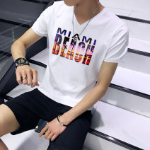 T-shirt Youth fashion routine M L XL XXL XXXL Kai color Short sleeve V-neck Self cultivation daily summer Polyester 95% polyurethane elastic fiber (spandex) 5% teenagers routine tide Knitted fabric Summer 2017 Alphanumeric printing The thought of writing tto  Fashion brand
