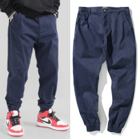 Casual pants Others Youth fashion Black, blue S,M,L,XL,2XL,3XL,4XL,5XL routine trousers Other leisure easy Micro bomb X176 Four seasons teenagers tide 2021 middle-waisted Little feet Overalls Pocket decoration No iron treatment Solid color Fine canvas cotton cotton Fashion brand More than 95%