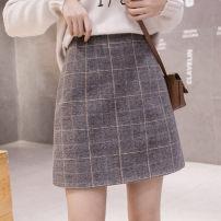 skirt Spring 2021 S,M,L,XL,2XL Black, gray Short skirt Versatile Natural waist A-line skirt lattice Type A 25-29 years old 91% (inclusive) - 95% (inclusive) Wool polyester fiber zipper