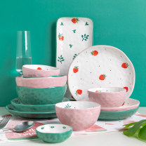 disc porcelain Underglaze color Japanese  Flat plate 7 inches 1 Plants and flowers Chinese Mainland Self made pictures circular Modern housewives adult like a breath of fresh air