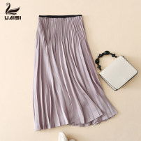 skirt Autumn of 2019 M L XL Pink Mid length dress Versatile Natural waist Pleated skirt Solid color Type A 25-29 years old UW9202-1 More than 95% other Uaisi / Youai polyester fiber Polyester 100% Pure e-commerce (online only)