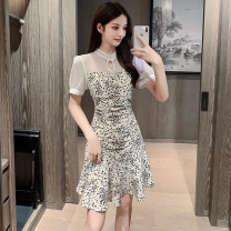 Dress Summer 2021 white S,M,L,XL Middle-skirt singleton  Short sleeve commute stand collar High waist Socket A-line skirt routine 18-24 years old Type A Korean version 51% (inclusive) - 70% (inclusive)