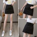 skirt Spring 2021 S,M,L,XL,2XL black Short skirt commute High waist A-line skirt Solid color Type A 18-24 years old Denim Korean version