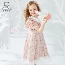 Dress Blue Pink female Choiyu Bella 100cm 110cm 120cm 130cm 140cm 150cm 160cm Polyamide fiber (nylon) 100% summer princess Short sleeve Broken flowers cotton A-line skirt QCX21802 Class B Summer 2021 Chinese Mainland Guangdong Province Shenzhen City