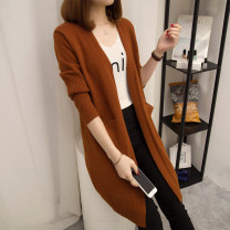 Wool knitwear Autumn of 2019 S,M,L,XL,2XL,3XL Apricot, khaki, black, army green, black gray, caramel Long sleeves singleton  Cardigan other 31% (inclusive) - 50% (inclusive) Medium length routine commute easy V-neck routine Solid color Korean version JX-9590 Monroembes Pocket, resin fixation